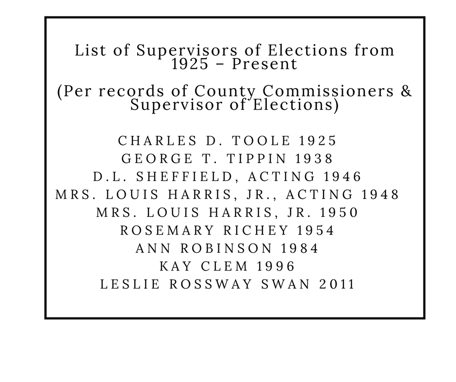 List of Supervisor of Elections from 1925 - Present (Per records of County Commissioners & Supervisor of Elections) Charles D. Toole 1925, George T. Tippin 1938, D.L. Sheffield, acting 1946, Mrs. Louis Harris, Jr., acting 1948, Mrs. Louis Harris, Jr. 1950, Rosemary Richey 1954, Ann robinson 1984, Kay Clem 1996, Leslie Rossway Swan 2011